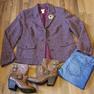L.L. Bean Dark Purple Tweed Wool Blazer Jacket